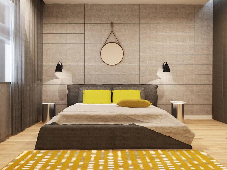 Projekt wnętrz mieszkania I: styl , w kategorii Sypialnia zaprojektowany przez Projektowanie Wnętrz Krzysztof Ziółkowski