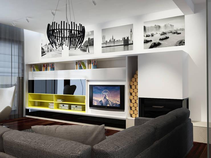 Projekt wnętrz domu jednorodzinnego: styl , w kategorii Salon zaprojektowany przez Projektowanie Wnętrz Krzysztof Ziółkowski