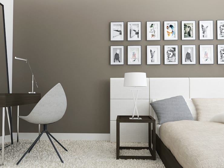 Projekt wnętrz domu jednorodzinnego: styl , w kategorii Sypialnia zaprojektowany przez Projektowanie Wnętrz Krzysztof Ziółkowski