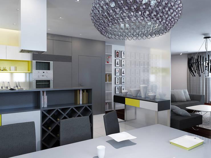 Projekt wnętrz domu jednorodzinnego: styl , w kategorii Kuchnia zaprojektowany przez Projektowanie Wnętrz Krzysztof Ziółkowski