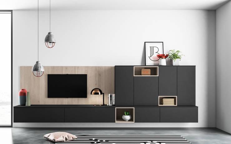 Ambiente Living (C) - panoramica: Soggiorno in stile in stile Moderno di Nova Cucina