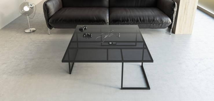 MANHATTAN minimalistyczna ława o intrygującej podstawie: styl , w kategorii Salon zaprojektowany przez take me HOME,