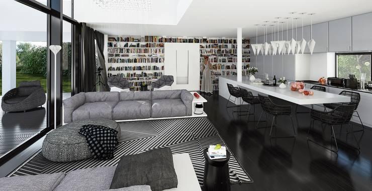 Готовые дома: Гостиная в . Автор –  Aleksandr Zhydkov Architect