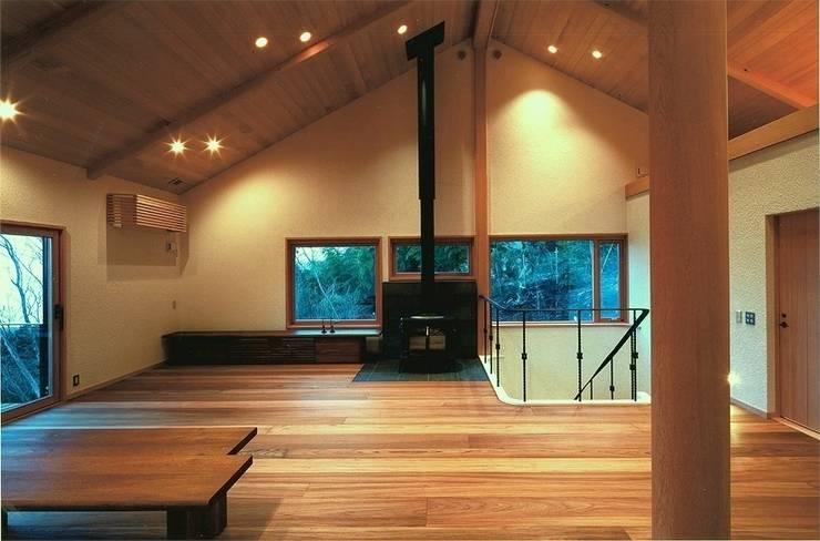 DOVE VAI ー天城高原の別荘ー: 松井建築研究所が手掛けたリビングです。