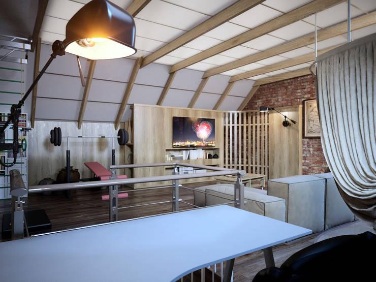 Мансарда в таунхаусе, г. Екатеринбург : Рабочие кабинеты в . Автор – Дизайн-студия 'Эскиз'