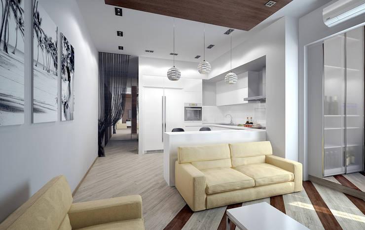 Гостиная, совмещенная с кухней: Гостиная в . Автор – Дизайн-студия 'Эскиз'