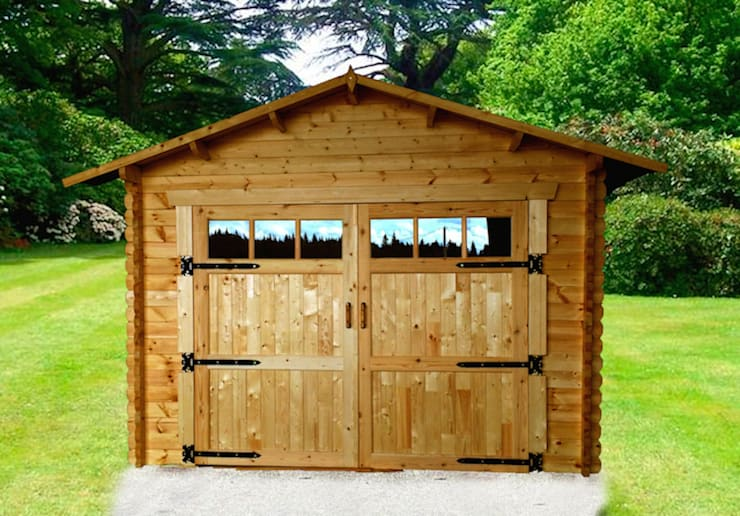 Garage in legno 4×6. Spessore 44 mm:  in stile  di DEKALUX
