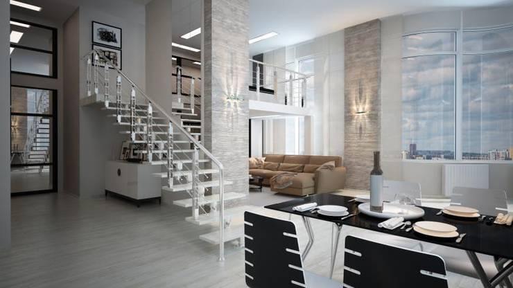 Двух уровненная квартира студия: Гостиная в . Автор – дизайн-бюро ARTTUNDRA