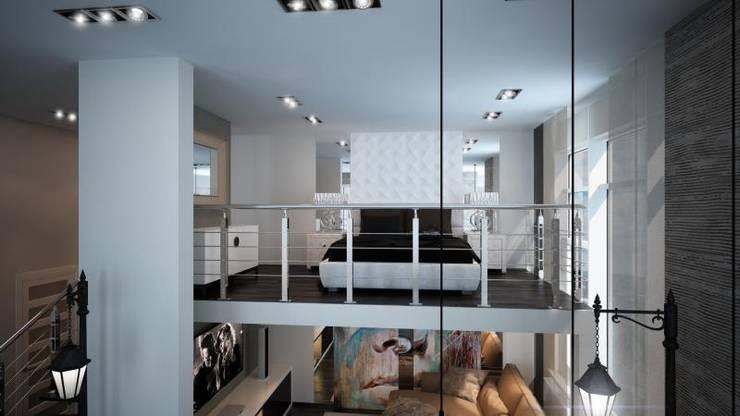 Двух уровненная квартира студия: Спальни в . Автор – дизайн-бюро ARTTUNDRA