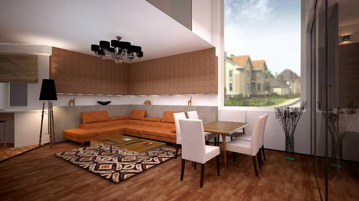 Коттедж в п. Грибки: Гостиная в . Автор – дизайн-бюро ARTTUNDRA