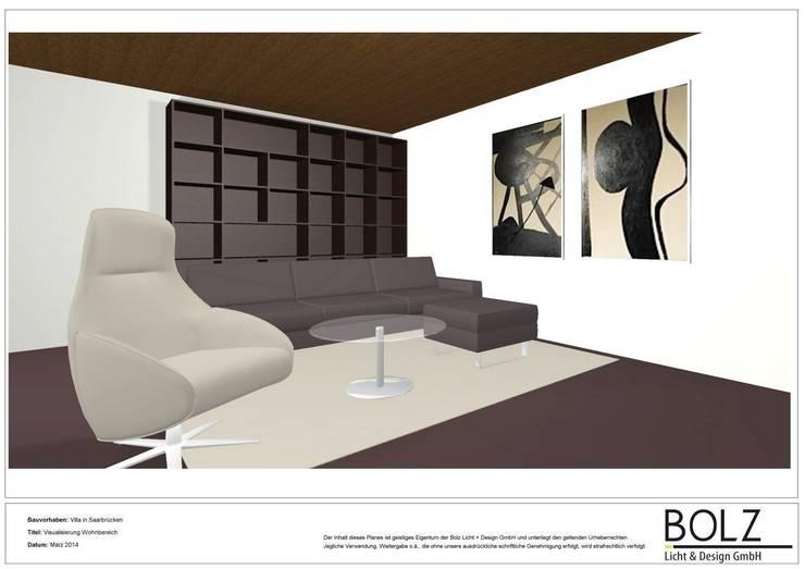 Visualisierung Villa in Saarbrücken, Wohnbereich: modern  von Bolz Licht und Wohnen · 1946,Modern
