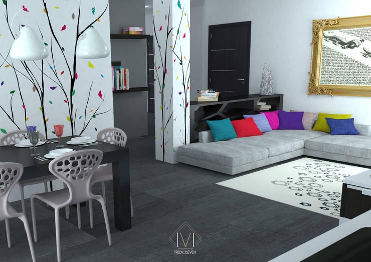 Render foto realistico soggiorno: Soggiorno in stile  di 13seven