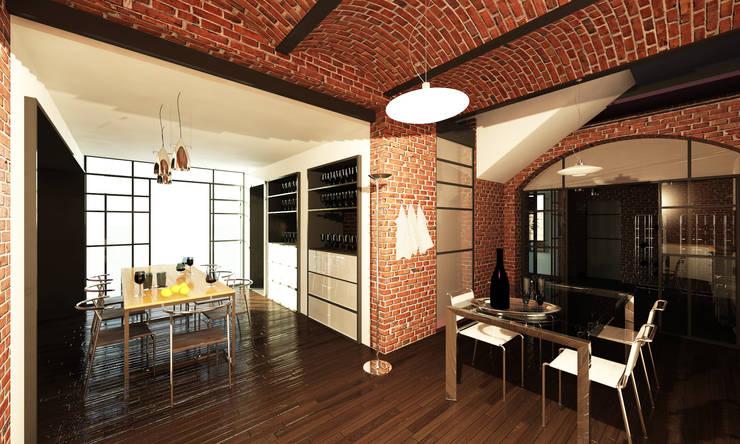 Render sala da pranzo: Sala da pranzo in stile In stile Country di Archisign
