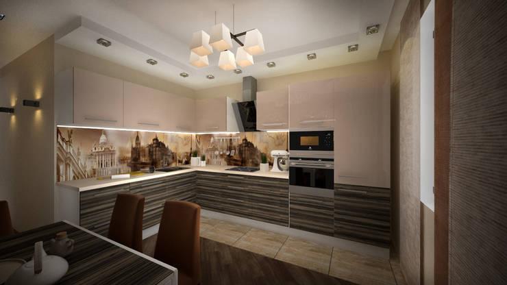 Из двухкомнатной в трехкомнатную. Проект квартиры в Балашихе.: Кухни в . Автор – дизайн-бюро ARTTUNDRA