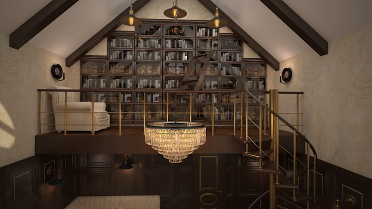 Интерьер кабинет- библиотеки. Николина гора: Рабочие кабинеты в . Автор – дизайн-бюро ARTTUNDRA