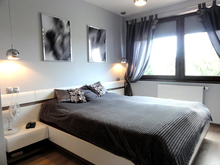 Dom w zabudowie szeregowej: styl , w kategorii Sypialnia zaprojektowany przez studio bonito