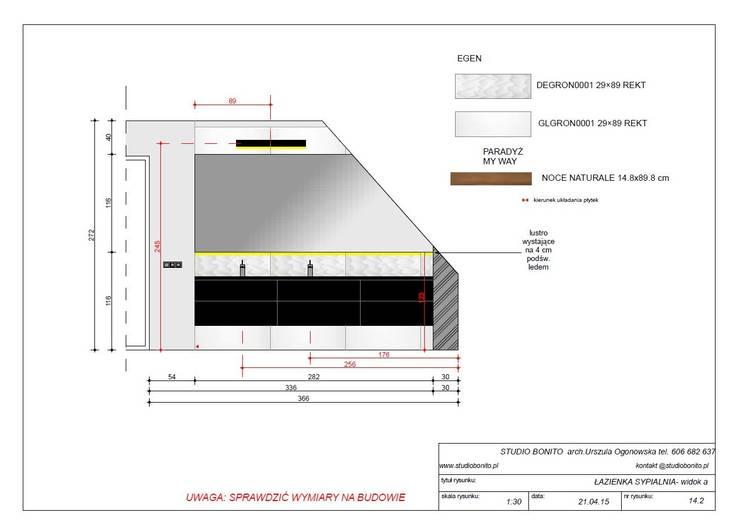 Projekt łazienki przy sypialni: styl , w kategorii  zaprojektowany przez studio bonito