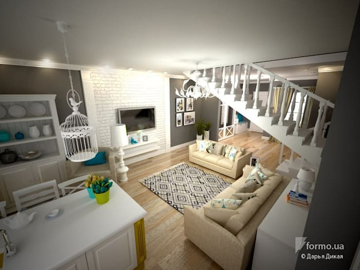 Гостиная – студия в стиле прованс: Гостиная в . Автор – Виталия Бабаева и Дарья Дикая