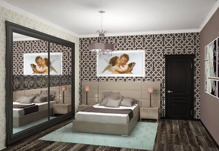 Спальня в стиле фьюжн: Спальни в . Автор – Виталия Бабаева и Дарья Дикая