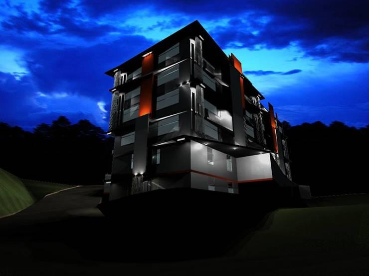 Propuesta de Diseño y modelado 3D diurno y nocturno edificio residencial.: Casas de estilo  por Mayarik