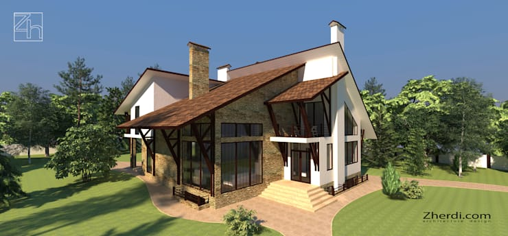 Архитектурный проект частного дома в стиле фахверк (half-timbered): Дома в . Автор – Студия дизайна и архитектуры Zherdi,