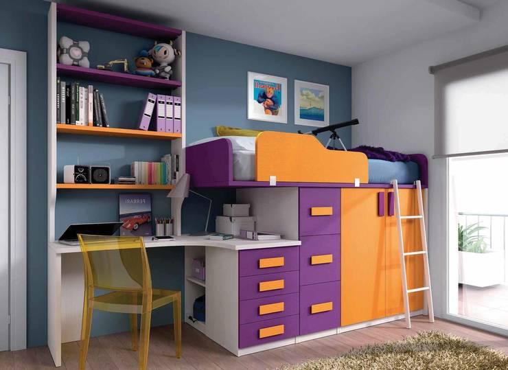 Cama tren multicolor: Dormitorios infantiles de estilo  de CREA Y DECORA MUEBLES