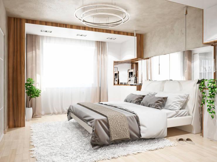 Двухэтажная квартира в современном стиле для молодой семьи : Спальни в . Автор – Студия архитектуры и дизайна ДИАЛ