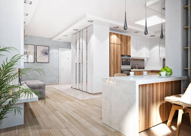 Двухэтажная квартира в современном стиле для молодой семьи : Гостиная в . Автор – Студия архитектуры и дизайна ДИАЛ