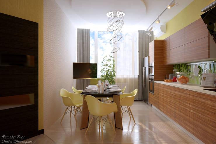 """Дизайн кухни - гостиной в современном стиле в ЖК """"Новый город"""": Кухни в . Автор – Студия интерьерного дизайна happy.design"""