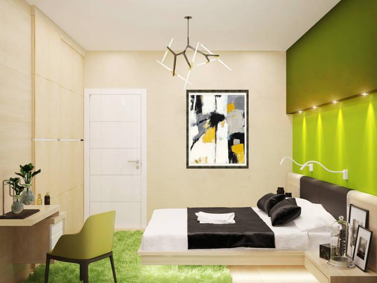 Яркие краски для спальни в стиле минимализм: Спальни в . Автор – Студия дизайна Interior Design IDEAS, Минимализм