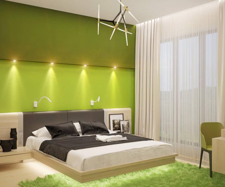 Dormitorios de estilo  de Студия дизайна Interior Design IDEAS