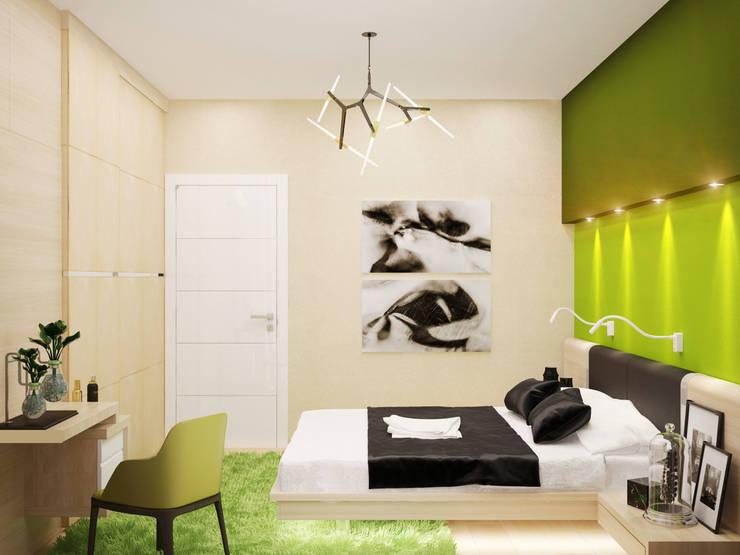 Яркие краски для спальни в стиле минимализм: Спальни в . Автор – Студия дизайна Interior Design IDEAS