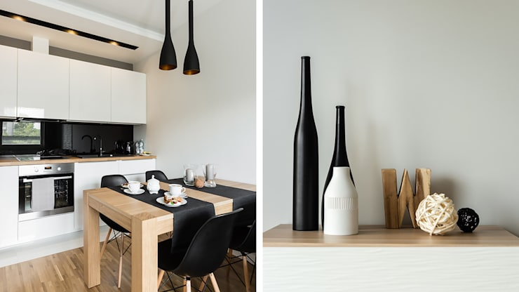 MIESZKANIE WAKACYJNE STYL SKANDYNAWSKI – AVIATOR – GDAŃSK: styl , w kategorii Jadalnia zaprojektowany przez Anna Serafin Architektura Wnętrz