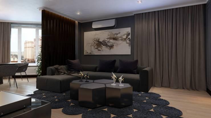 Квартира для холостяка: Гостиная в . Автор – Mushulov Project, Минимализм