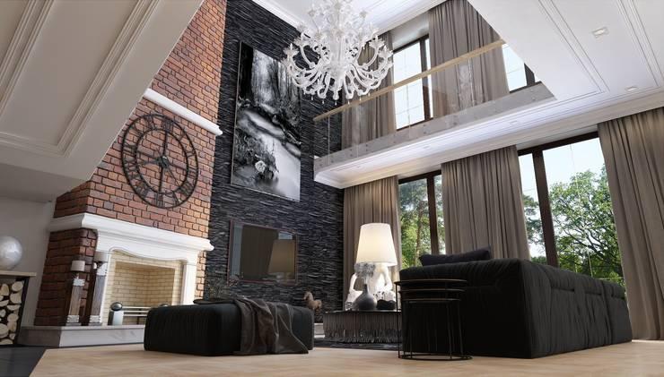 Частный дом: Гостиная в . Автор – Mushulov Project