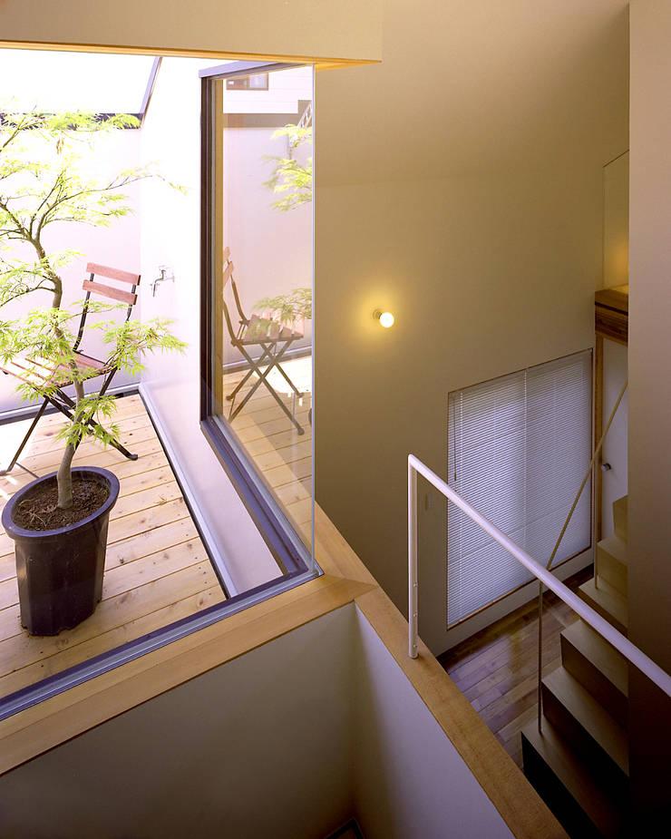 習志野台の家: シミズアトリエ 一級建築士事務所が手掛けたテラス・ベランダです。