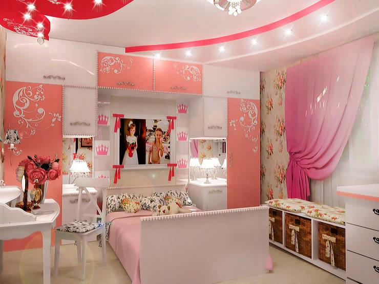 Детская для маленькой принцессы: Детские комнаты в . Автор – ПРОЕКТНАЯ СТУДИЯ Ирины Щуровой ДОМ