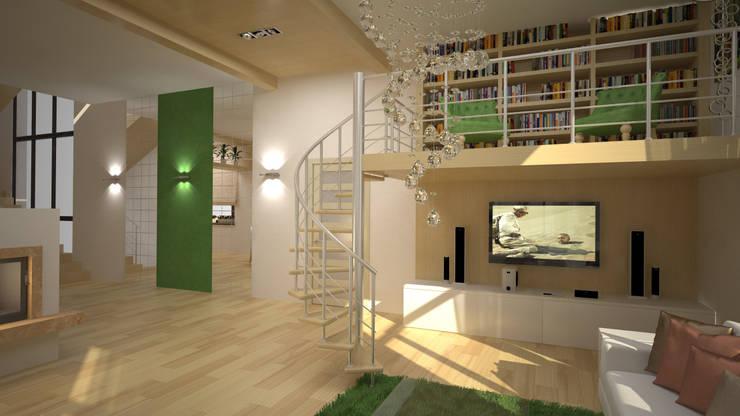 Интерьер таун-хауса в экостиле: Гостиная в . Автор – дизайн-бюро ARTTUNDRA