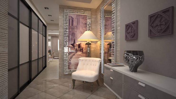 Нежное Aр-деко. Кухня-гостиная в таунхаусе.: Коридор и прихожая в . Автор – дизайн-бюро ARTTUNDRA