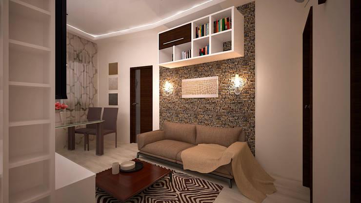 Сумасшедшая перепланировка из офиса в квартиру: Гостиная в . Автор – дизайн-бюро ARTTUNDRA