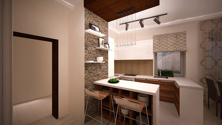 Сумасшедшая перепланировка из офиса в квартиру: Кухни в . Автор – дизайн-бюро ARTTUNDRA