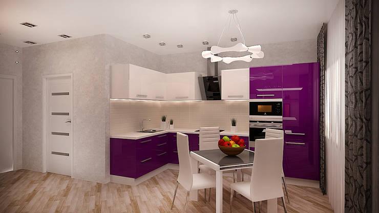 Превращение однокомнатной квартиры в двухкомнатную: Кухни в . Автор – дизайн-бюро ARTTUNDRA