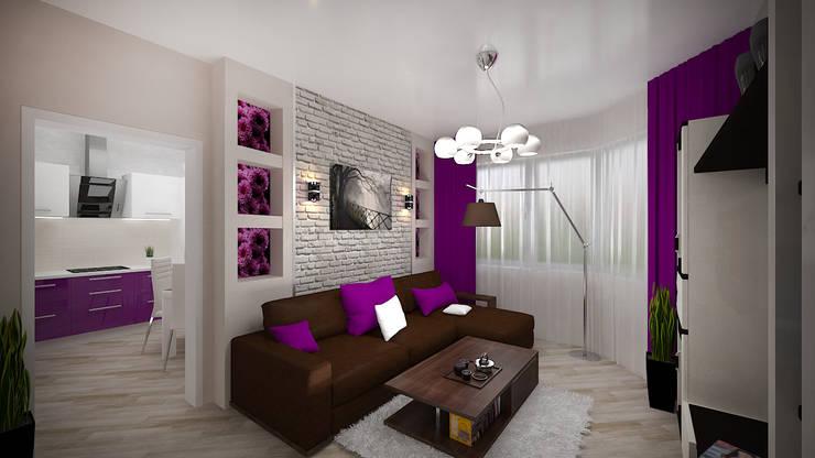 Превращение однокомнатной квартиры в двухкомнатную: Гостиная в . Автор – дизайн-бюро ARTTUNDRA
