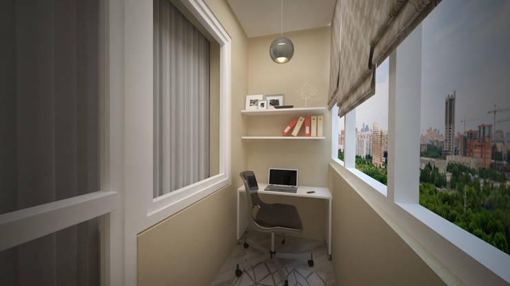 Превращение однокомнатной квартиры в двухкомнатную: Tерраса в . Автор – дизайн-бюро ARTTUNDRA