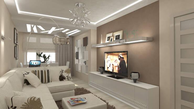 Трех комнатная квартира по ул Осенний бульвар: Гостиная в . Автор – дизайн-бюро ARTTUNDRA