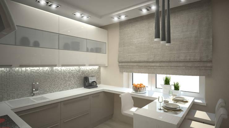 Трех комнатная квартира по ул Осенний бульвар: Кухни в . Автор – дизайн-бюро ARTTUNDRA