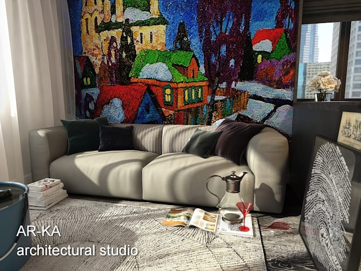 Супер – МИНИ с хорошим вкусом: Гостиная в . Автор – AR-KA architectural studio