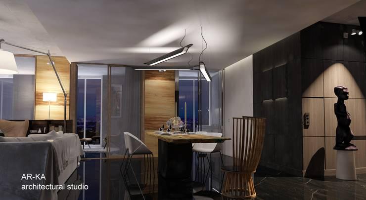 LUX Лофт на Мосфильмовской: Столовые комнаты в . Автор – AR-KA architectural studio