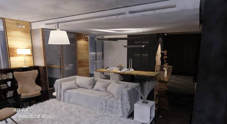LUX Лофт на Мосфильмовской: Гостиная в . Автор – AR-KA architectural studio