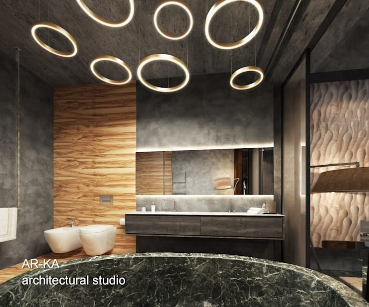 LUX Лофт на Мосфильмовской: Ванные комнаты в . Автор – AR-KA architectural studio